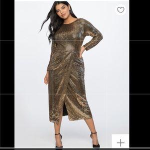 Gold Sequin Maxi Dress Plus Size 16